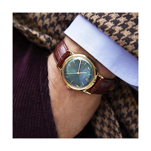 Timex 34 mm Marlin Handwind Gold-Tone SST Case Green Dial Brown Strap