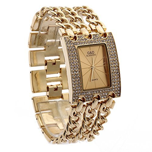 Elegant Womens Watch (G&D Women's Gold-Tone Triple Chain Stainless Steel Band Rhinestone Luxury Analog Wrist)