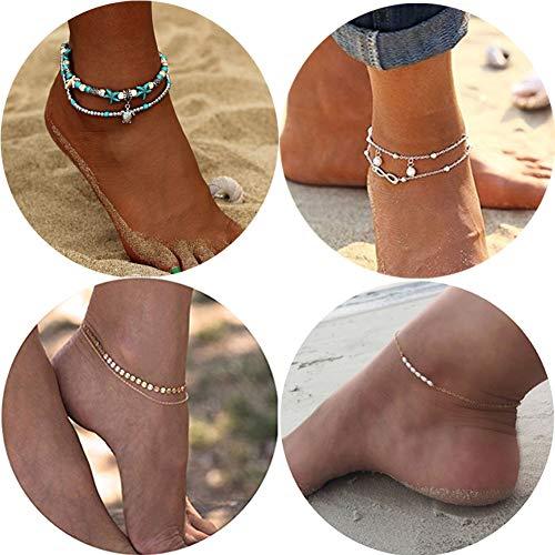 WAINIS 4Pcs Boho Beach Ankle Bracelets for Women Girl Indian Beach Layered Anklets Set
