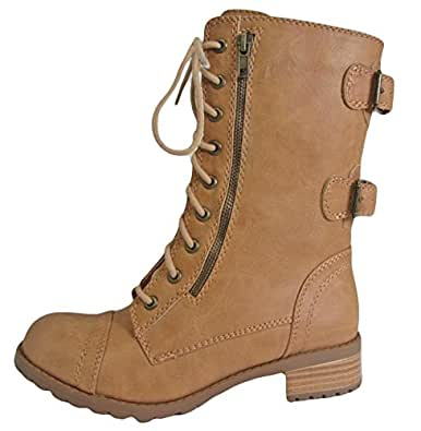 Soda Dome-SA Vegan Lace Up Mid Calf Women Military Boot (5.5 B(M) US, Natural)
