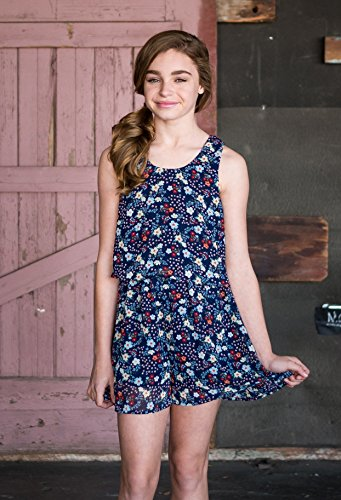 Truly Me, Big Girls Tween Sweet Floral Romper (Many Options), 7-16 (14, Navy Floral) by Truly Me (Image #1)