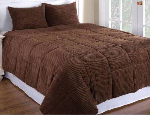 Newpoint Microplush Corduroy King Comforter Mini Set, Chocolate