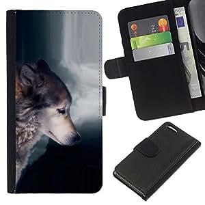 KingStore / Leather Etui en cuir / Apple Iphone 5C / Lobo Waterfull indio salvaje Bosque Animal