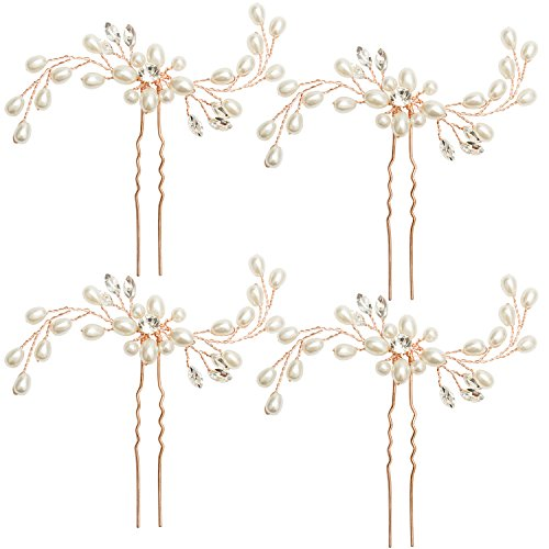 Jaciya 4 Pack Wedding Bridal Crystal Pearl Hair Pins Decorated Hairpins for Women and Girls (Rose Gold)