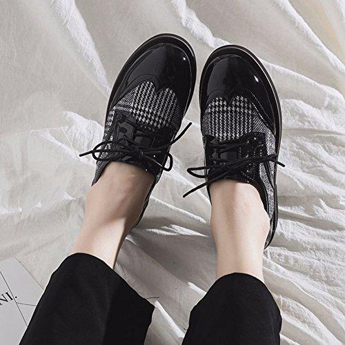 T-juli Kvinna Klassiska Oxfords Skor - Retro Spets-up Låg Häl Rund Tå Vintage Skor