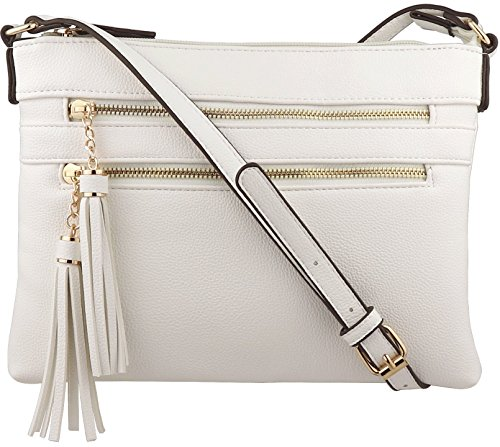 White Leather Handbag Purse - B BRENTANO Vegan Multi-Zipper Crossbody Handbag Purse with Tassel Accents (White.)