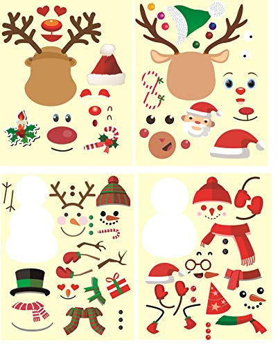 25Pk Make a Xmas Stickers Xmas Gifts- Make a Santa Claus Stickers,Make a Xmas Deer Stickers, Make a Christmas Tree Stickers, Make a Snowman Stickers