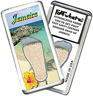 """product image for Jamaica""""FootWhere"""" Magnet (JM205 - Oceanview). Authentic Destination Souvenir acknowledging Where You've Set Foot. Genuine Soil of Featured Location encased Inside Foot Cavity. Made in USA."""