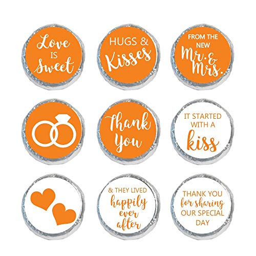 Mini Candy Stickers Wedding Favors Set of 324 (Orange) ()