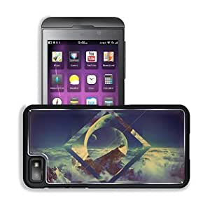 Abstract Mountain Moon Imagination Artwork BlackBerry Z10 Snap Cover Premium Aluminium Design Back Plate Case Customized Made to Order Support Ready 5 3/16 inch (131mm) x 2 5/8 inch (67mm) x 4/8 inch (13mm) MSD BlackBerry Z 10 Professional Metal Cases Bla