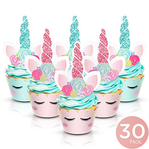 Unicorn Cupcake Toppers and Wrappers - Party Supplies for Birthday, Baby Shower, Valentine, Baby Shower - Double-Sided Glitter Design Cake Decorations. 30 Pairs by Augmist