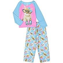 Candlesticks Girls' Cute Kitty Glasses Cat Pajama Sleepwear Set