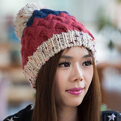 los Bola otoño Blue BEIGE Hecho Mezcla de Grande Coreana Sombrero Maozi Punto para Que Colores Invierno Versión FnxqAwtI