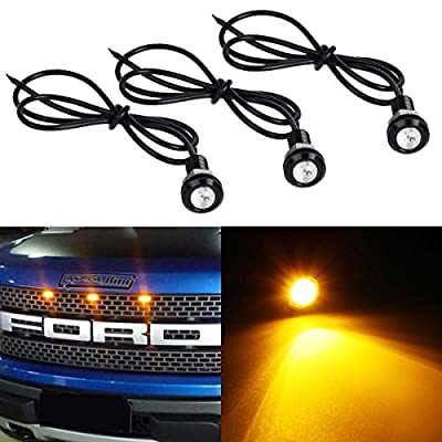 Partsam 3000K Amber Yellow LED Lamps Eagle Eye Lights for Ford F150 Raptor Style Front Grille Lighting Kit / License Plate Lights DIY Lamps etc.