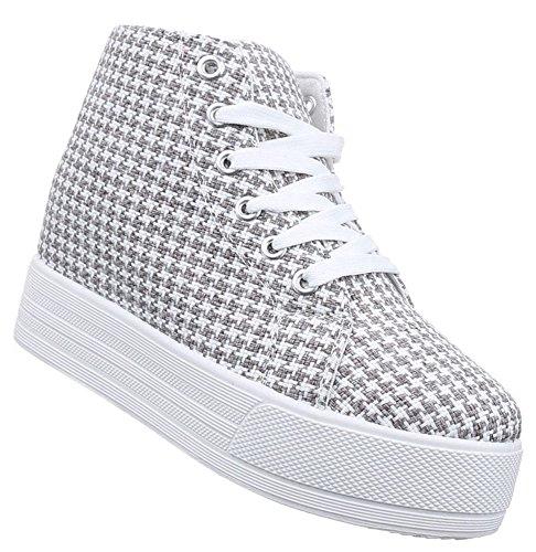 Damen Sneaker Schuhe Freizeitschuhe Keilabsatz Wedges Stiefelette High-Top Halbschuhe Schwarz Weiss Grau 36 37...
