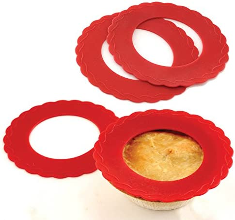 4 Set Mini Silicone Pie Pan Shields Red 13cm - 15cm Pies Protects Crust
