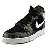 Jordan Nike Kids Air 1 Retro High BHM GG Black/White Black VLTG Green Basketball Shoe 4 Kids US