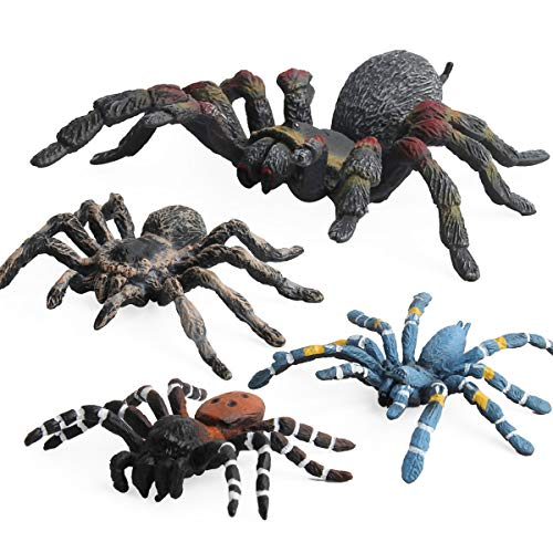 The Spider Model Toy Wildlife Model Fiesta Toys Tarantula Spider Four Different Spiders in a Set Halloween Christmas Party décor Birthdays Holidays April Fool Pranks