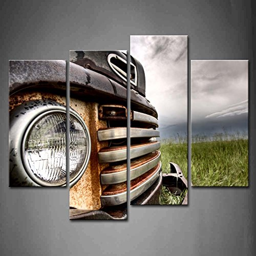- 4 Panel Wall Art Old Vintage Truck On The Prairie Painting Pictures Print On Canvas Car The Picture For Home Modern Decoration piece (Stretched By Wooden Frame,Ready To Hang)