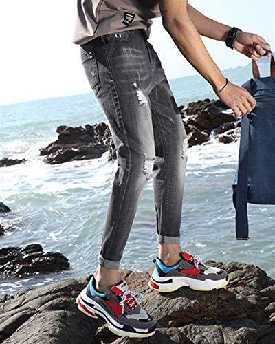 Pants Di Slim Da Skinny Pantaloni Fori Stretch Strappati Uomo 1819black Chiaro Lavati Cher Fit Jeans Colore gRqqdwz8