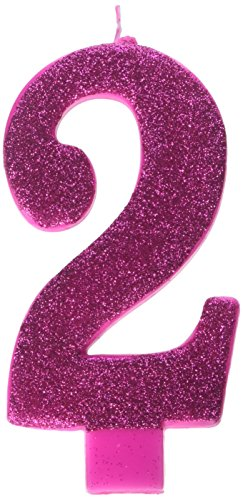Amscan Numerical Candles, Numeral #2 Large Glitter Candle, Party Supplies, Pink, 5 1/4