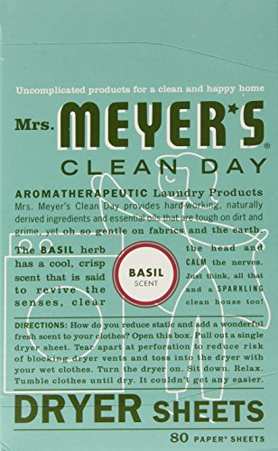 Meyers Dryer Sheets (Mrs. Meyer's Clean Day Dryer Sheets, Basil, 80-Count Boxes (Pack of 3))