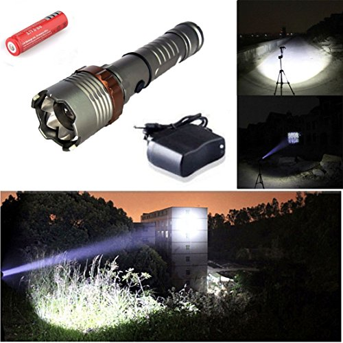 Spot Projection Attachment (1Pc Immaculate Popular 5 Mode LED Flashlight 2000Lm Aluminum Alloy Police Torch Tactical Light Color Gray with Battery Charger)