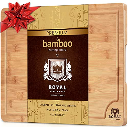 Organic Bamboo Cutting Board with Juice Groove - Best Kitchen Chopping Board for Meat (Butcher Block) Cheese and Vegetables | Anti Microbial Heavy Duty Serving Tray w/Handles (Small (12 x 8