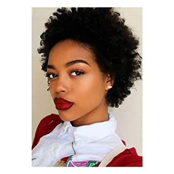 CTRLALT Short Black Kinky Curly Wigs for Women Natural Black Afro Wig  African American Short Wigs