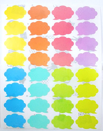 Pastel Soft Colors Sticker Labels 1 Inch. Approx. (6 sheet pack / 192 piceses per pack) - Thinking - Foods List Fancy