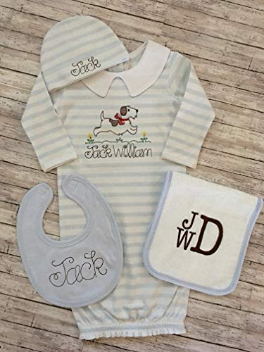 Apparel Layette (Baby Boy Coming Home Outfit Infant Boy Personalized Coming Home Gown Baby Boy Layette Infant Boy Custom Shower Gift)
