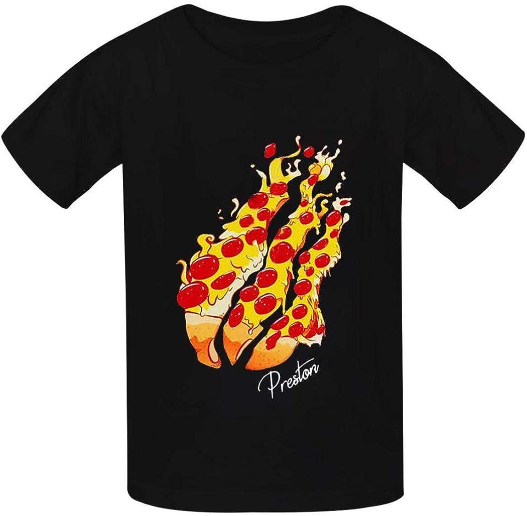 YQZRGIPWKU Pizza Preston Fire Nation Playz Gamer Flame T Shirt Boys and Girls Casual Round Neck Short Sleeve T-Shirts Cotton