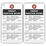 FORKLIFT INSPECTION RECORD Tags, 2 Sided, 5.75'' X 3'', White Cardstock - Pack of 25 Tags