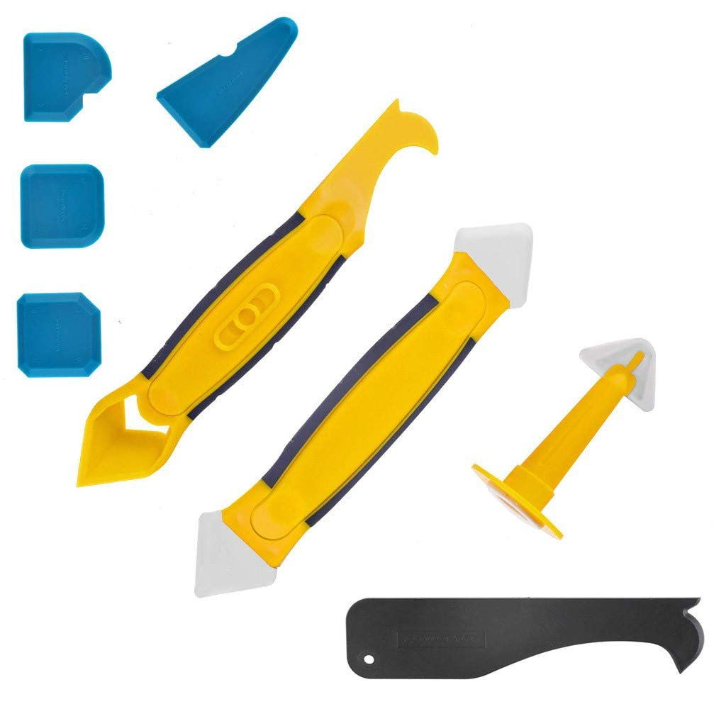 Fan-Ling Silicone Jointing Tool,Multifunctional 8 in 1 Professional Silicone Tool Scraper Set for Kitchen Bathroom Floor,Caulk Removal Tool, Practical Spatula Scraper