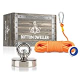BottomDweller Strong 330 lb (150 kg) Pull Force Neodynium Fishing Magnet Kit with Highly Visible Rope and Carabiner, Heavy Duty Retrieval Magnet for Hunting and Salvaging Hidden Treasures from Rivers