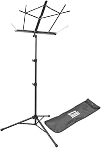 On-Stage SM7122BB Compact Folding Sheet Music Stand with Bag, Black