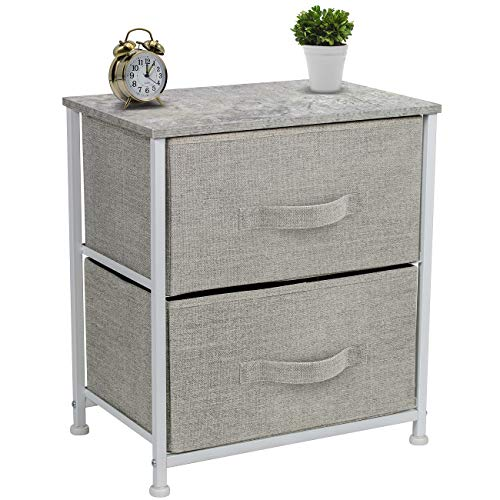 Sorbus Nightstand with 2 Drawers - Bedside Furniture & Accent End Table Chest for Home, Bedroom Accessories, Office, College Dorm, Steel Frame, Wood Top, Easy Pull Fabric Bins (Gray) 2 Drawer Bedside Chest