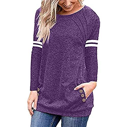 Women Spring Shirt Casual Button Blouse Long Sleeve Pullover Top