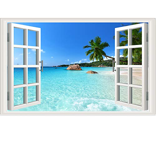 Prabahdak 3D Fake Windows Wall Sticker Removable Beach Seascape Faux Windows Wall Sticker Vinyl Self-Adhesive Beach Landscape Palm Tree Wall Mural Stickers for Bedroom Living Room Decoration]()