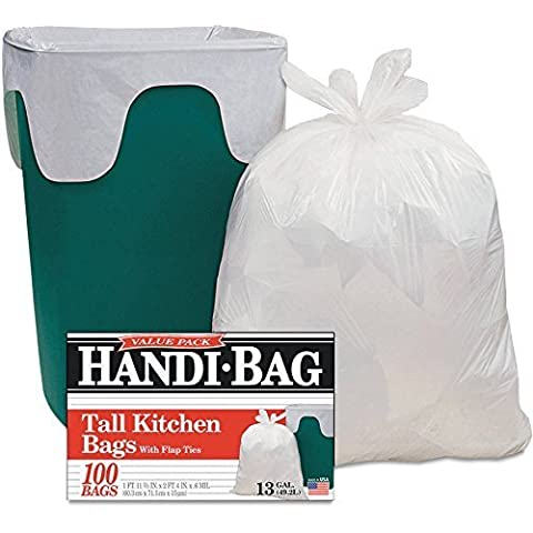 Super Value Pack Handi Ideal Bag for Home and Office, 13 gal, 100 ct, White