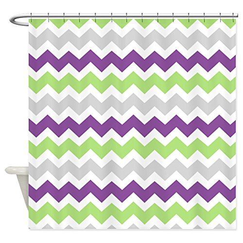 CafePress - Lime Purple Grey Chevron Stripes - Decorative Fabric Shower Curtain (Bright Lime Modern Kids Rug)