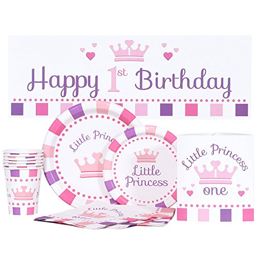 Little Princess 1st Birthday Party Kit for up to 16 Guests