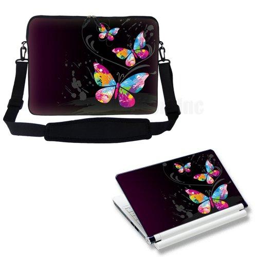 Meffort Inc 15 15.6 inch Laptop Carrying Sleeve Bag Case with Hidden Handle & Adjustable Shoulder Strap with Matching Skin Sticker Deal - Dark Butterfly in the Corner Design