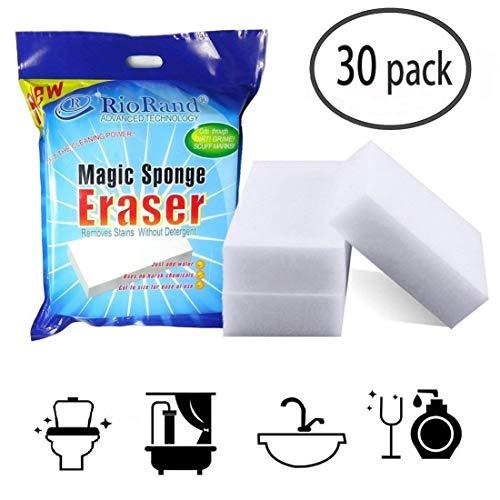 RioRand RR-CLENER-SP-30 Magic Cleaning Eraser Sponge Melamine Foam 3.55x2.4x1.2 Inch, Pack of 30