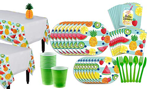 Party City Hello Summer Party Supplies for 16 Guests, Include Plates, Napkins, Utensils, Table Covers, and a Centerpiece