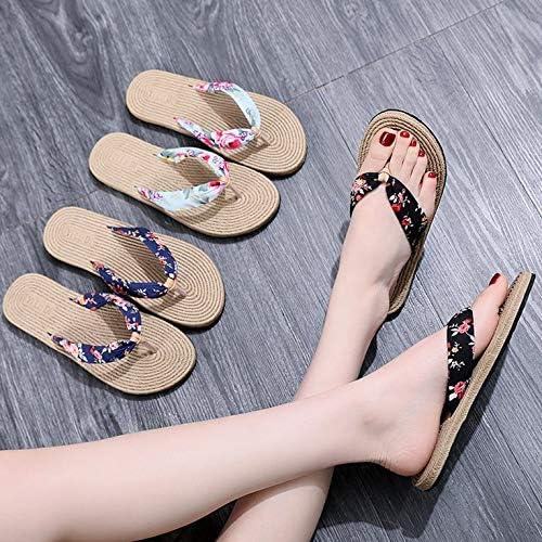 N//V Hemp Slippers Womens Sandals Summer Floral Hemp Flat Slides Beach Slippers Slip-On Round Open Toe Basic Rome Shoes
