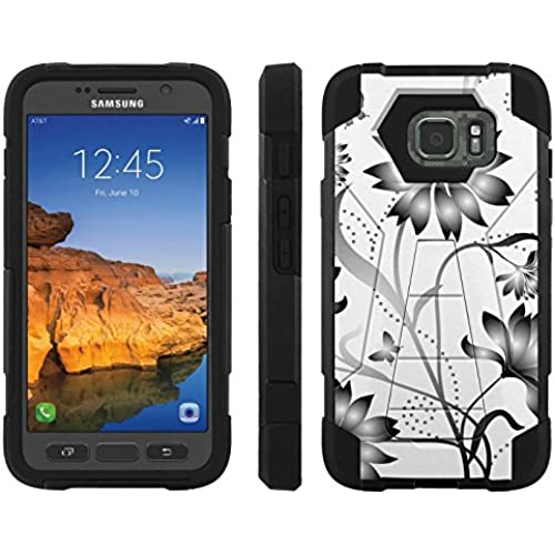 AT&T [Galaxy S7 Active] ShockProof Case [ArmorXtreme] [Black/Black] Hybrid Defender [Kickstand] - [Gray Flower] for Samsung Galaxy [S7 Active] Sales