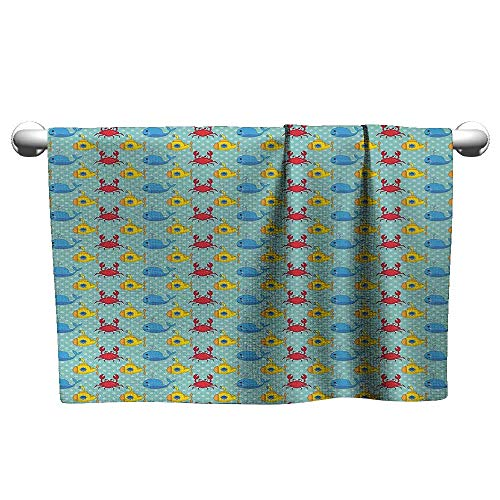 Yellow Submarine,Pool Towels Underwater Life Theme Pattern Submarines Whales and Crabs Print Bath Towels for Kids Aqua and Mustard W 35
