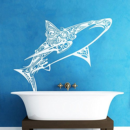 Great White Shark Vinyl Wall Decals Children Bedroom Wall Sticker Awesome Shark Creatures Decor (Small,White)