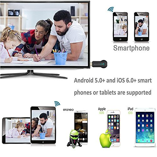 WIFI Display Dongle, niceEshop(TM) 5G Wireless Miracast Airplay Dongle 1080P HD TV Stick Display Adapter Receiver, Support Miracast DLNA Airplay for IOS / Android / Windows / Mac by niceeshop (Image #1)